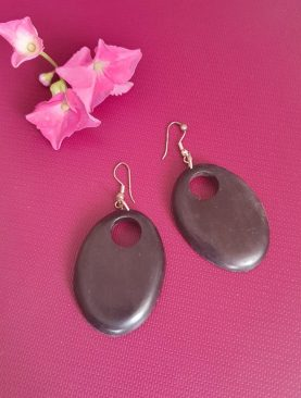 Hoop Ebony Wooden Earring