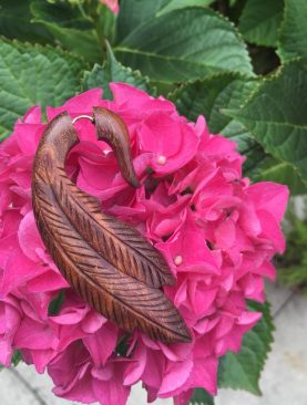 Tribal Wooden Handmade Leaf Design Brown Fake Gauge Stud Earrings