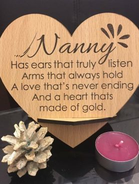 Nanny, Has ears that truly listen, Arms that always hold, A love that's never ending and a heart thats made of gold. Top Table Plaque