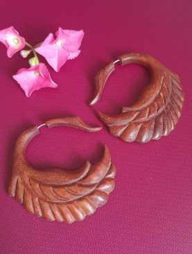 Tribal Swan Design Faux Plugs Wooden Earrings