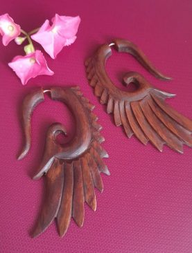 Tribal Wing Wooden Earring