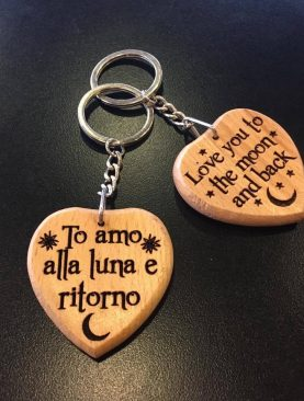 To amo alla luna e ritorno, Love you to the moon and back Keyring Gift