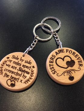 Side by side or miles apart we are sisters connected by the heart Keyring Gift