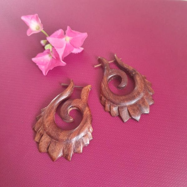 Carved Flower Wooden Earrings