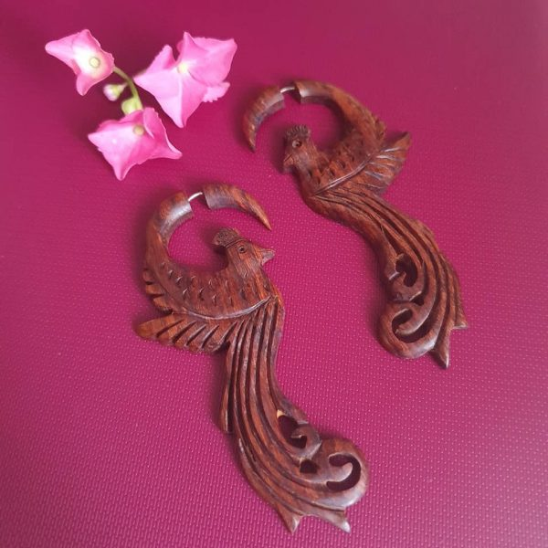 Tribal Bird Wooden Earrings