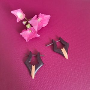 Black Beige Wooden Earrings