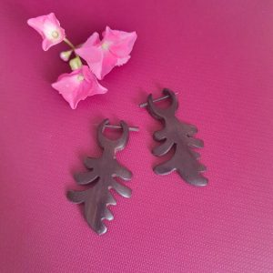 Black Colour Wooden Earrings