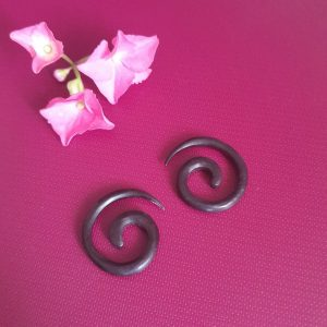 Round Spiral Wooden Earring