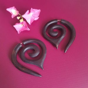 Tibetan Antique Wooden Earrings