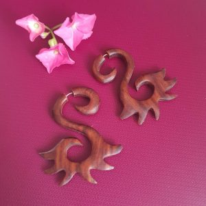 Tibetan Swan Wooden Earrings