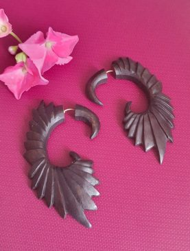 Tribal Tibetan Wooden Earrings