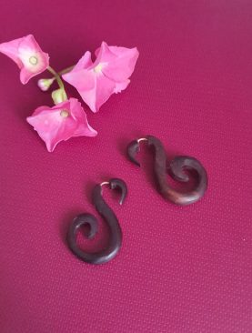 Brown Small Swan Wooden Earrings