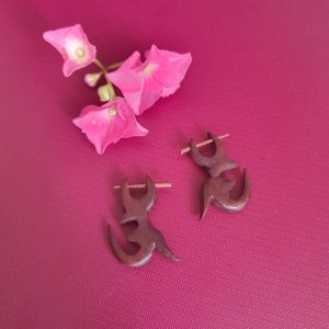 Om Brown Wooden Earrings