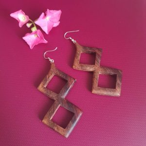 Tibetan Dangler Wooden Earrings