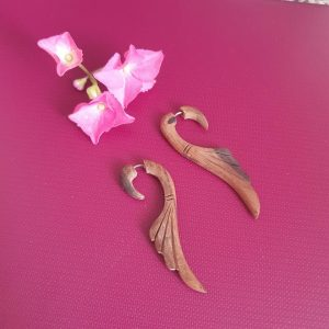 Traditional Brown Wooden Earrings