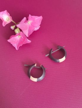 Tribal Black & Cream Wood Hoops Earrings