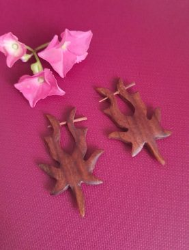Tribal Maple Leaf Wooden Earrings