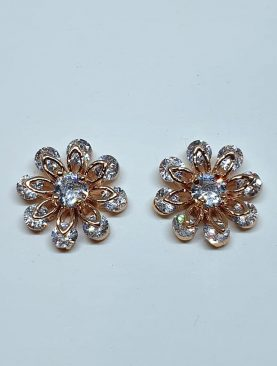 Enamel Flower Zirconia Stud Earrings