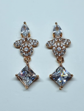 Square Zirconia Drop Earrings